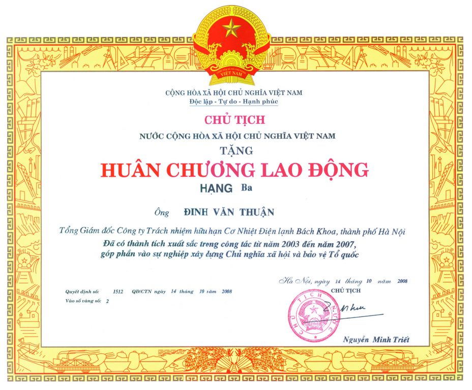 3.Huân chương lao động hạng ba Đinh Văn Thuận tập đoàn Polyco