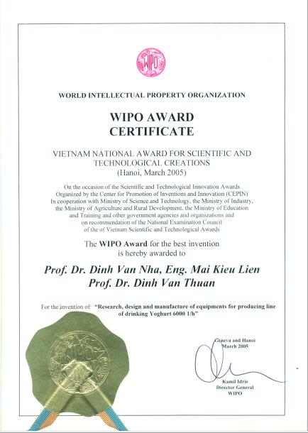 7. WIPO award certificate Đinh Văn Nhã Đinh Văn Thuận Mai Kiều Liên tập đoàn Polyco